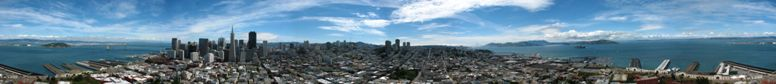 Overview of San Francisco from the Coit Tower on Telegraphe Hill, this Image is a Panorama of 13th pictures, the picture was behind the visitor Window recorded - click on image for high resolution Panorama
