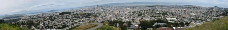 Overview of San Francisco from Twin Peaks - click on image for high resolution Panorama